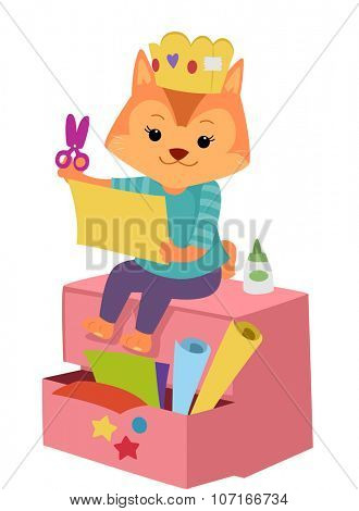 Illustration of a Cute Cat Cutting a Piece of Paper