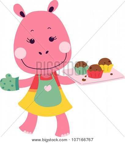 Illustration of a Cute Hippo Carrying a Tray of Muffins