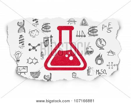 Science concept: Flask on Torn Paper background
