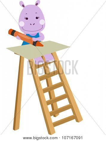 Illustration of a Cute Hippo Drawing with a Crayon While Sitting on a Step Ladder