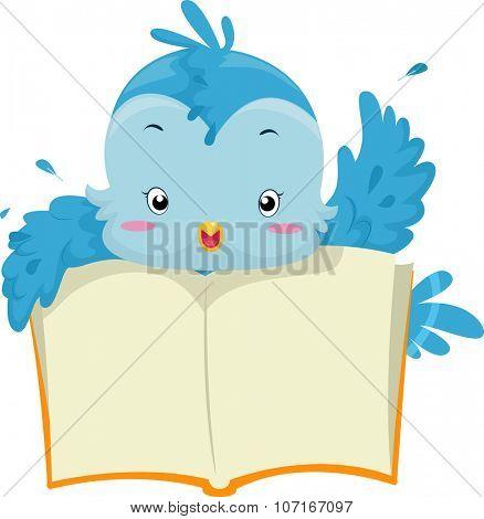 Illustration of a Blue Bird Holding an Open Book