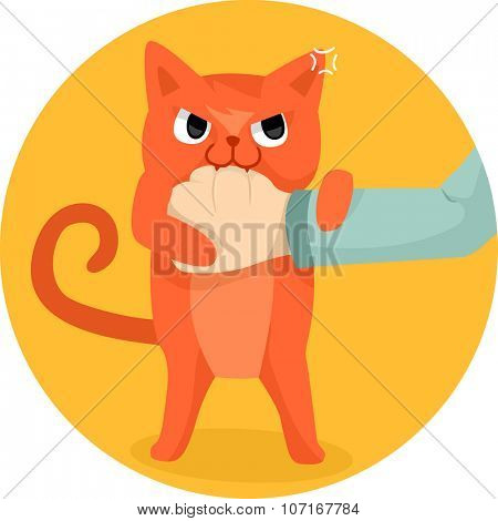Illustration of a Cute Cat Biting the Hand of a Human