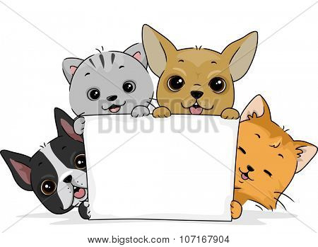 Illustration of a Cute Cat and a Pair of Cute Dogs Holding a Blank Board