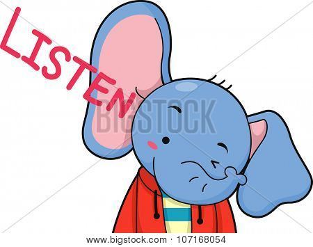 Illustration of a Cute Elephant Listening Intently
