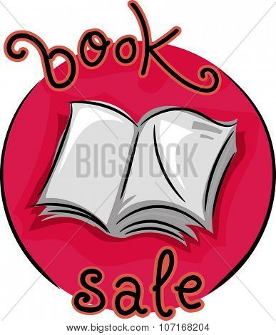 Icon Illustration Featuring an Open Book with the Words Book Sale Written Around it