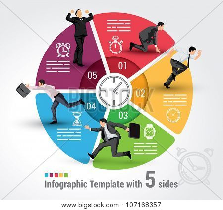 Five sides infographic template, a vector chart with 5 options used for web, banners, reports, presentation and brochures.