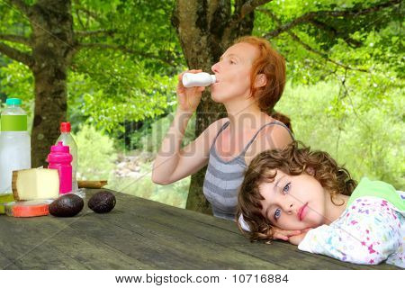Mother Daughter Picnic Outdoor Park