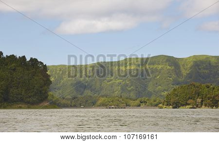 Landscape With Lake, Mountains And Bridge In Sao Miguel. Azores
