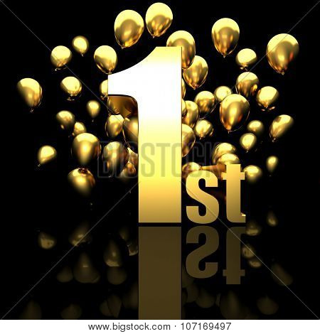 1st golden number and balloon background