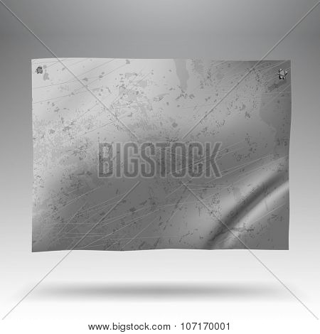 Metallic crumpled and spotted signboard. Tin-plate background