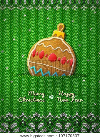 Christmas Bauble Cookie On Knitted Background
