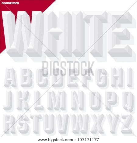 Vector 3D white condense beveled alphabet with shadow. Simple colored version.
