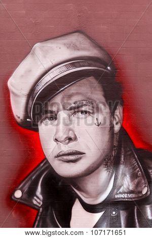 Street art of Marlon Brando painted on a wall
