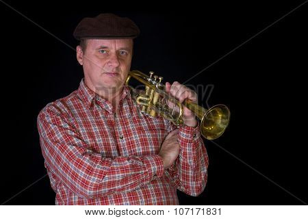 Portrait of mature trumpeter