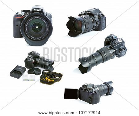 Images Set Of Nikon D5300 Dslr Camera Set With Zoom Sigma Lens, Batteries And Charger