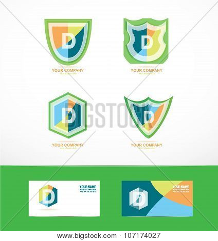 Letter D Shield Logo Icon Set