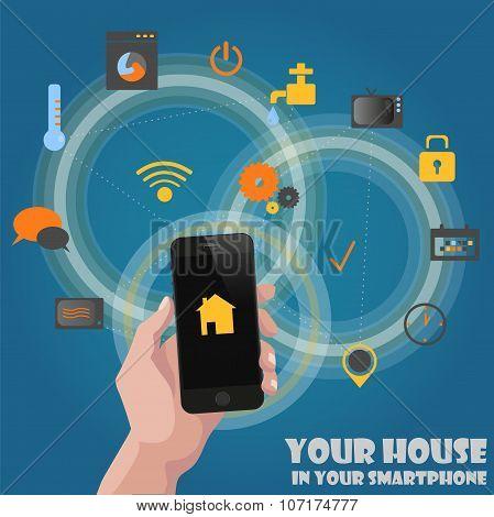 Smart home detectors controlling concept via phone
