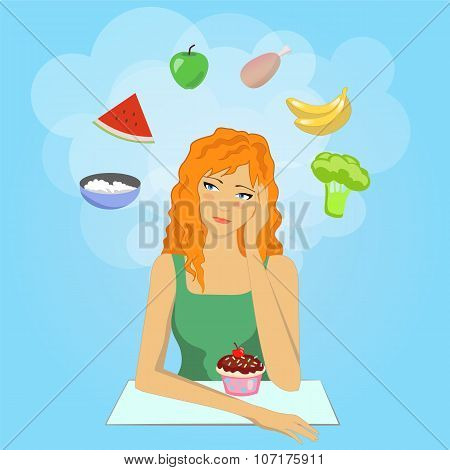 Girl decides to start a diet. Want eat healthy food.