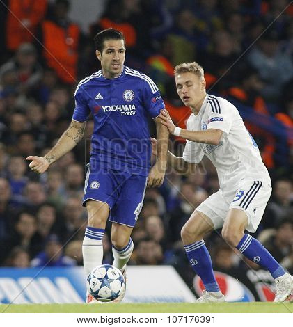LONDON, ENGLAND - NOVEMBER 04 2015: Cesc Fabregas of Chelsea during the UEFA Champions League match between Chelsea and Dynamo Kyiv at Stamford Bridge on November 04, 2015 in London, United Kingdom.