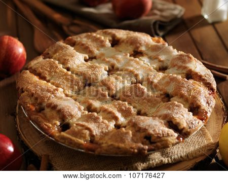 american apple pie with fall theme shot close up with selective focus