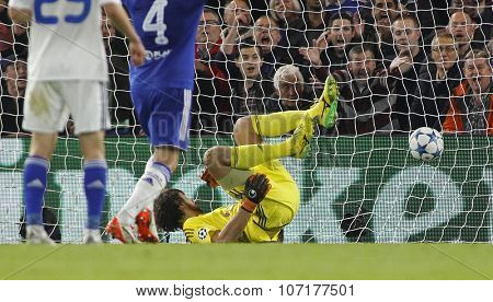 LONDON, ENGLAND - NOVEMBER 04 2015:  goalkeeper Oleksandr Shovkovskiy of Dynamo Kyiv concedes a goal during the UEFA Champions League match between Chelsea and Dynamo Kyiv at Stamford Bridge
