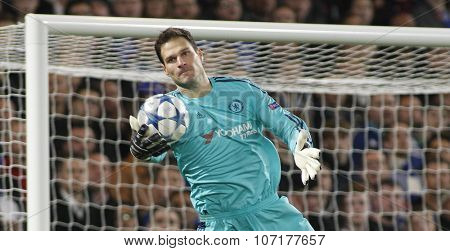 LONDON, ENGLAND - NOVEMBER 04 2015: goalkeeper Asmir Begovic of Chelsea during the UEFA Champions League match between Chelsea and Dynamo Kyiv at Stamford Bridge on November 04, 2015 in London