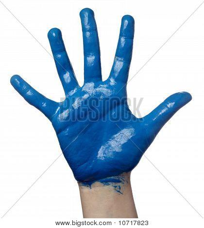 Color pintado arte de arte de la mano de niño