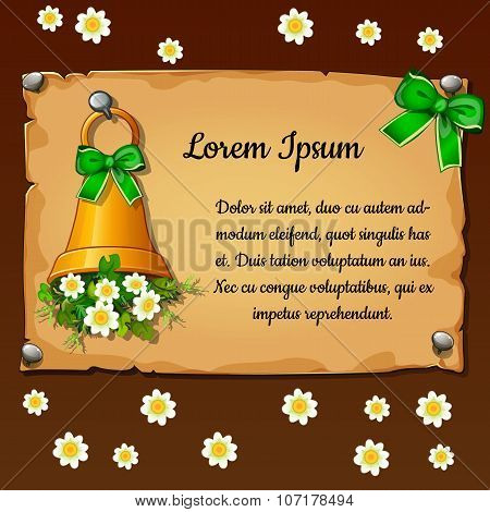 Bell with flowers daisies, parchment card with space for text for your design needs