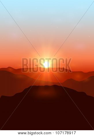 Landscape With Dawn In The Mountains