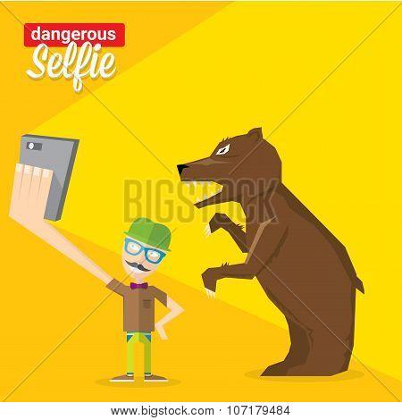 Dangerous selfie with bear concept illustration