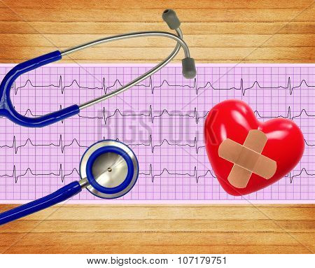Heart Analysis, Electrocardiogram Graph (ecg), Heart And Stethoscope On Wooden Background