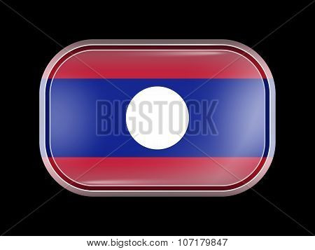 Flag Of Laos. Rectangular Shape With Rounded Corners