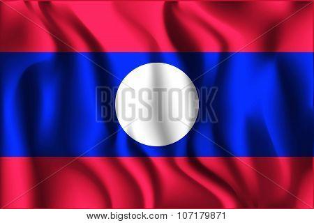 Flag Of Laos. Rectangular Shape Icon
