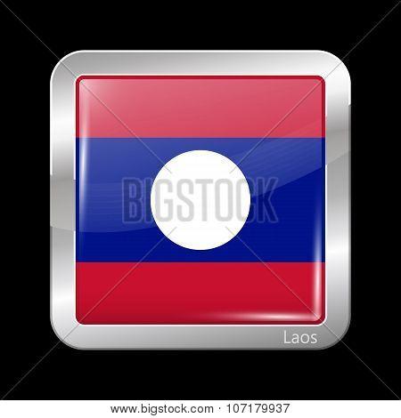 Flag Of Laos. Metallic Icon Square Shape