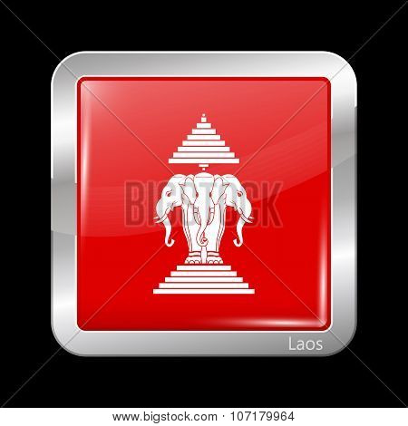 Flag Of The Kingdom Of Laos. Metallic Icon Square Shape