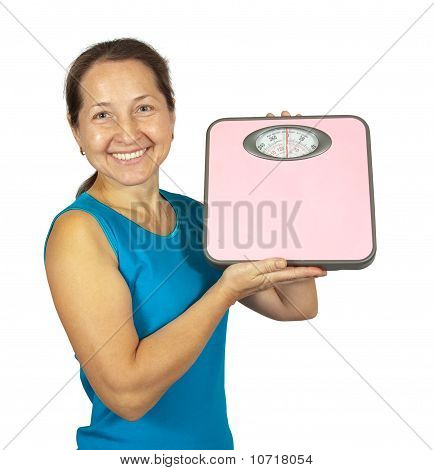 Beauty Woman With Pink Scale