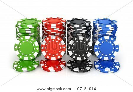 Colorful Poker Chips, Casino, Isolation On A White Background