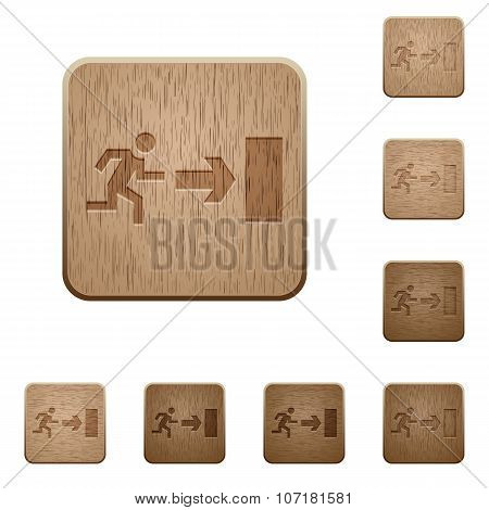 Exit Wooden Buttons