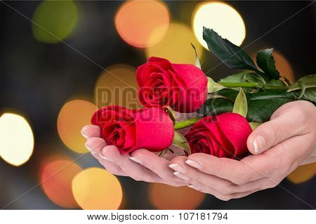 Manicure and roses
