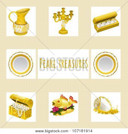 Vintage and precious treasures, seven icon