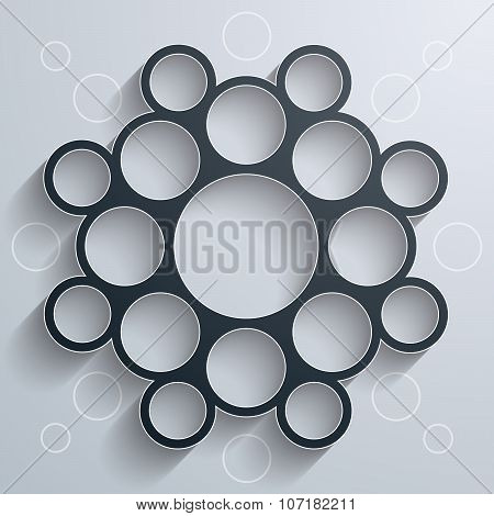 Abstract infographics symmetrical black circles mandala shape with shadow on white background