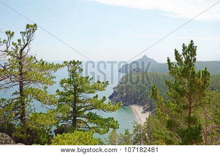 The picturesque coastline of the western coast of Lake Baikal. Top view