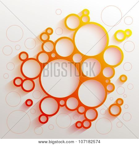 Infographics red and orange gradient circles meatball shape with colorful shadow on white background