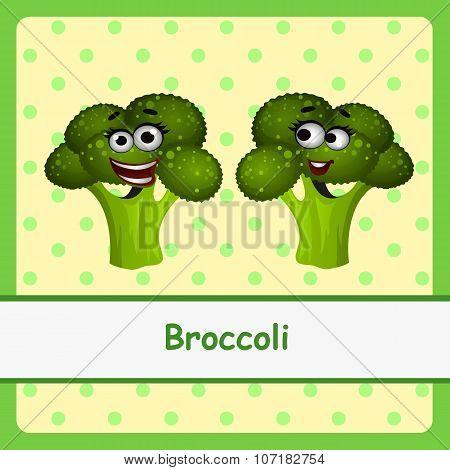 Funny brocoli character on yellow background