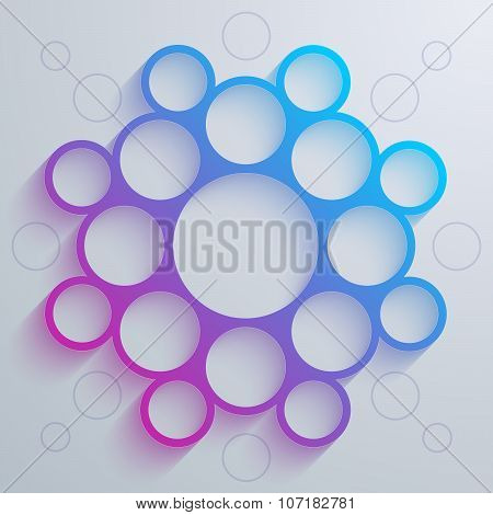 Infographics blue and purple gradient circles mandala shape with colorful shadow on white background