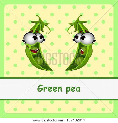 Green pea, funny characters on yellow background