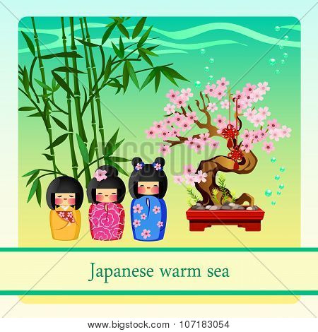 Warm sea with elements of Japanese culture
