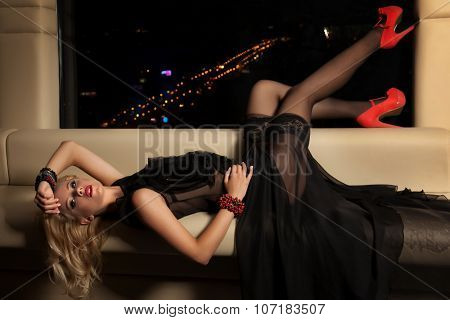 Portrait of a beauty young adult attractive sexy and sensuality pretty blonde woman in fashionable elegance dress