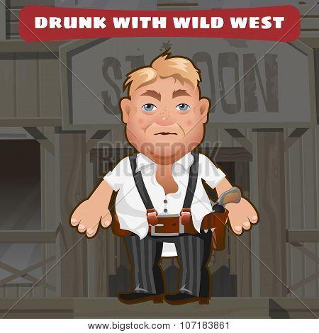Cartoon character of Wild West - drunk man