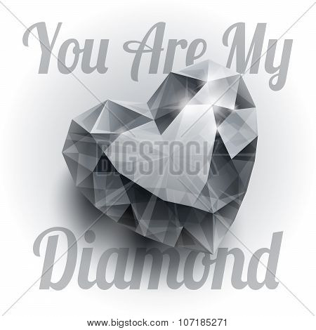 Shiny isolated diamond heart shape with realistic shadow on white background